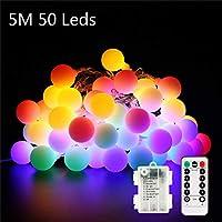 Vegkey Cadena de Luces,5M 50 Leds Guirnalda Luces Cadena de Luces 8 Modos Luces Decorativas para Boda, Habitación,Fiesta de Navidad,Fiesta de cumpleaños
