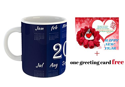 Beautiful Happy New Year 2018 Calender Ceramic Coffee Mug with free Greeting card for friends,Girlfriend,Boyfriend & Gift,family with Glossy finish vibrant Print  available at amazon for Rs.195