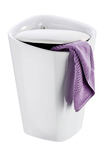 Wenko 21988100 Candy Badhocker mit abnehmbarem Wäschesack, Fassungsvermögen, 20 L, eckig, Kunststoff, 35 x 50 x 35 cm, weiß - 4