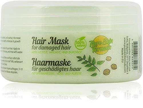 Masque capillaire 100% naturel pour cheveux secs et abîmés à l'huile d'ortie, de bardane, de noix, de jojoba et d'avocat. Traitement et réparation des cheveux réparateurs. Sans parabène, 250 ml.