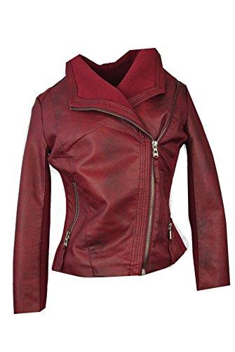 Starshocker Damen Vegan Kurz Leder Jacke mit Strickeinsätzen Biker Style Lederoptik PU, Größe:S,...