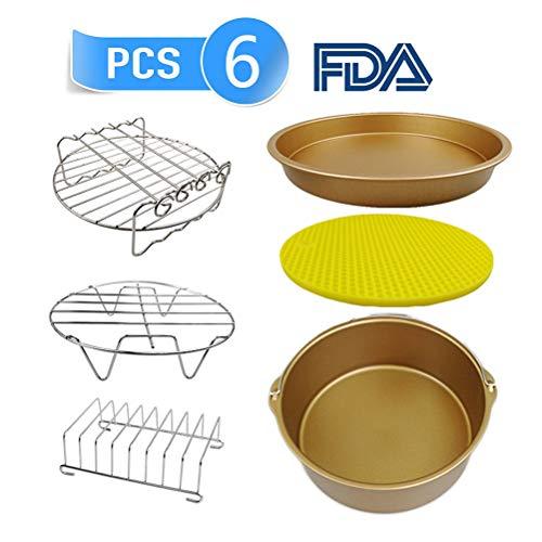 Accesorios para air fryer, incluye Cake Barrel/Pizza Pan/Soporte de metal/Pincho/Estante de pan/Estera...