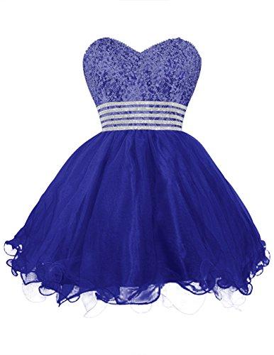 Dresstells, Robe de bal Robe de soirée de cocktail courte en tulle bustier en cœur emperlée Bleu Saphir