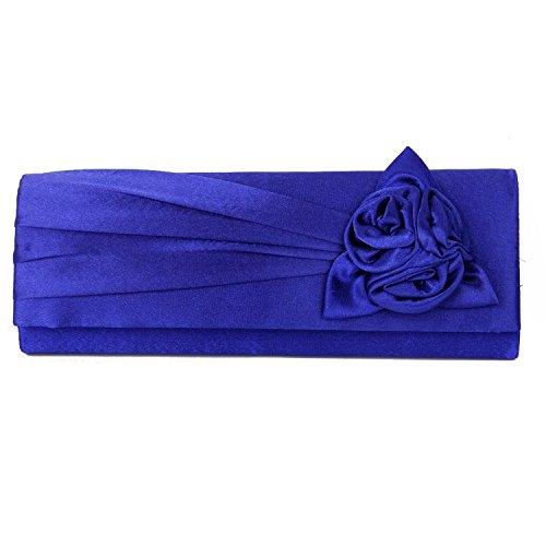 hellodd da donna sera borsa frizione borsa con tracolla, Rosa Royal Blue