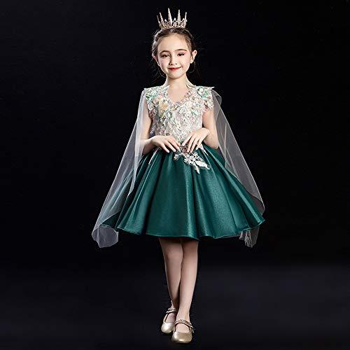 ZMDHL Blumenmädchen erste Kommunion Kleid Hochzeit Brautjungfer Flauschige Prinzessin Kleid Schönheit Schönheit Kleid Abendkleid,130cm