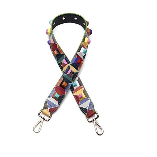 Umily Universal 90cm Correa de Hombro Cinturón Bolsa Accesorios Bolso De Hombro Del Cinturón Recambio Desmontables Para Mujeres-Remache colorido