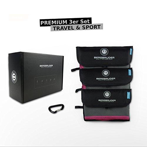 Mikrofaser Handtücher 3er Set | Ultraleicht, kompakt, schnelltrocknend & antibakteriell | Perfekt als Reisehandtuch, Sporthandtuch, Badetuch, Duschtuch | Outdoor Handtuch-Set (Grau-Pink)