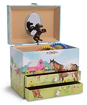 JewelKeeper Large Girl's Musical Jewellery Box with 2 Pull-out Drawers - Multiple Design and Tune Options Available