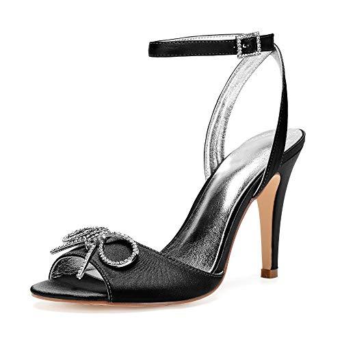 AIMISHOES Women Sandals High Heels Shoes Bow Luxury Rhinestone Wedding Party Shoes Female Sandals,Black,41 Black Satin Bow Sandals