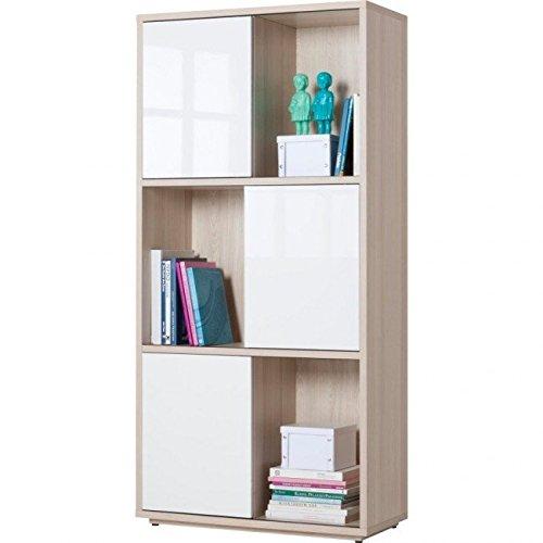 Composad LB2225 Bibliothèque à 6 Compartiments avec 3 Portes coulissantes en Frêne laqué Blanc L 90 x H 186 x P 40 cm