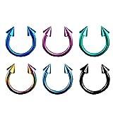 Piersando Piercing Hufeisen Septum Ring 6er Set mit Spikes Titan Lippen Nasen Lippe Ohr Tragus Helix Intim Augenbraue Horseshoe 1,2mm x 10mm x 4mm