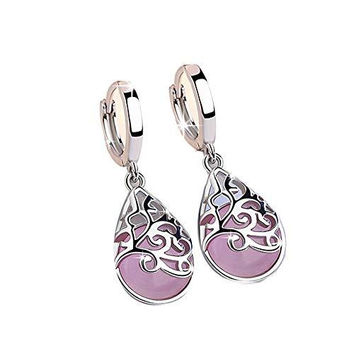 KAAYAH - Ohrringe aus 925 Sterling Silber mit rosa Mondstein, Klappcreole mit hängendem Mondstein tropfenförmig und Ornamenten