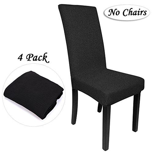 Btsky, 4coprisedie elasticizzati, removibili e lavabili, in stile moderno, per sala da pranzo, alberghi, nozze (sedia non inclusa) black