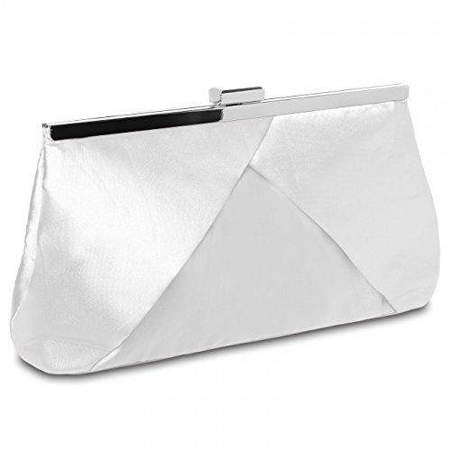 CASPAR klassische Damen Satin Clutch / Abendtasche in stylischem Design - viele Farben - TA320, Farbe:weiss (Tasche Satin Damen)
