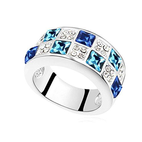 KnSam Damen Ring Vergoldet Bandring Vergoldet Quadratische mit Viele Zirkonia Größe 53 (16.9) bis 57 (18.1) 7