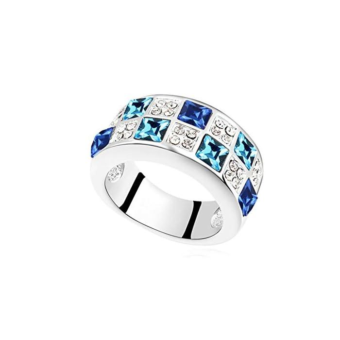 KnSam Damen Ring Vergoldet Bandring Vergoldet Quadratische mit Viele Zirkonia Größe 53 (16.9) bis 57 (18.1) 1