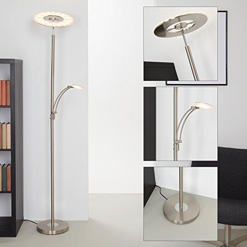 Briloner Leuchten 1324-022, LED Stehlampe dimmbar, Stehleuchte, schwenkbarer Fluter-Kopf inkl. Touchdimmer, Wohnzimmerlampe mit Leselampe 21 W + 3.5 W, Form: rund, Metall, matt-nickel, 28x180cm
