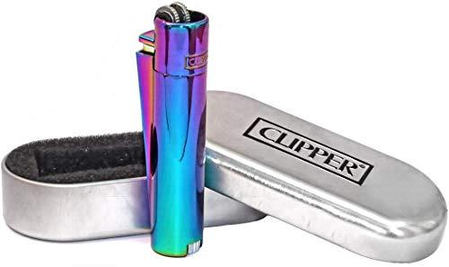 Clipper Rainbow Metall-Feuerzeug, mit Feuerstein, unterschiedliche eisige (ICY) Farben