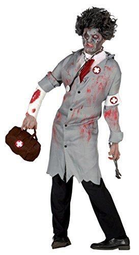 Tot Halloween Kostüm Chirurg (Herren Grau Zombie Toter Arzt Chirurg Halloween Kostüm Kleid Outfit)