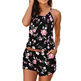 Estate Tuta Donna Manica Corta Spiaggia Clubwear Bodycon Tutina Solido O-Collo...