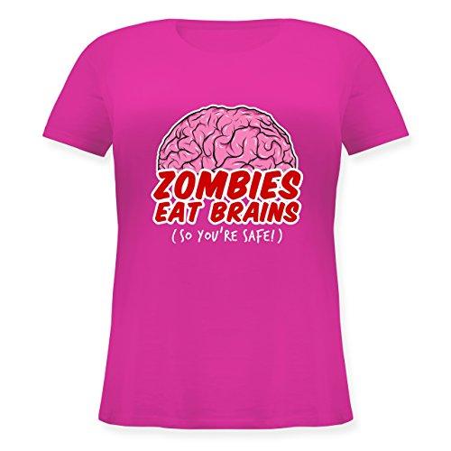 Halloween - Zombies eat Brains - so You´re Safe! - L (48) - Fuchsia - JHK601 - Lockeres Damen-Shirt in großen Größen mit Rundhalsausschnitt (Halloween Zombie-marke 2019)