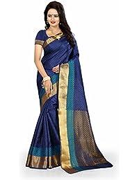 LATEST FASHION DEALS Women's Cotton Silk Saree With Blouse Piece (1248 - MANGO PATTI BLUE_Multi-Coloured)