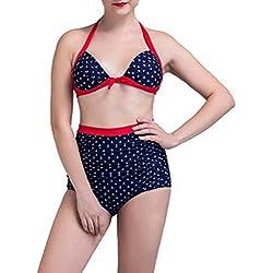 GAIHU Traje de baño Fashion agua Bikini Impresión ancla atar con Bañador Split triangular