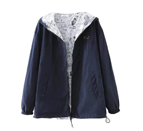 Aooword-women clothes Damen reversible trenchcoat short alltag einfach schule jacke Small Marine Blau Plus-size-reversible Coat