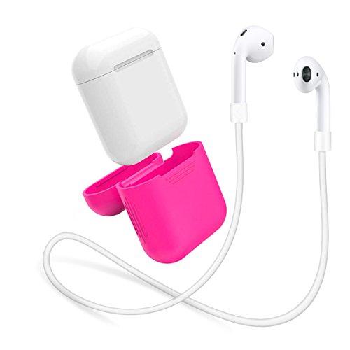 AirPods Hülle aus Silikon by innoGadgets | Inklusive Strap für AirPods | Zubehör, Schutzhülle | Griffiges und Robustes Silikon | Leicht zu reinigen | Perfekter Rundum-Schutz - Pink