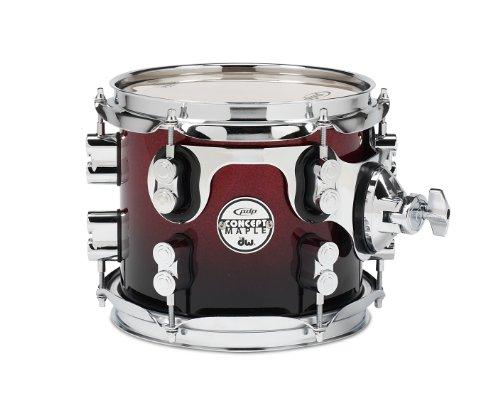 Pacific Drums pdcm0708strb 17,8x 20,3cm Tom mit Chrom Hardware-Rot zu schwarz verblassen