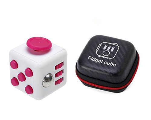Fidget Cube With Case Desk Toy Set Clicker Joystick Buttons For Stress Anxiety Focus ADHD Autism Adults Kids Students Office Gift Pack (5#Rose Red)