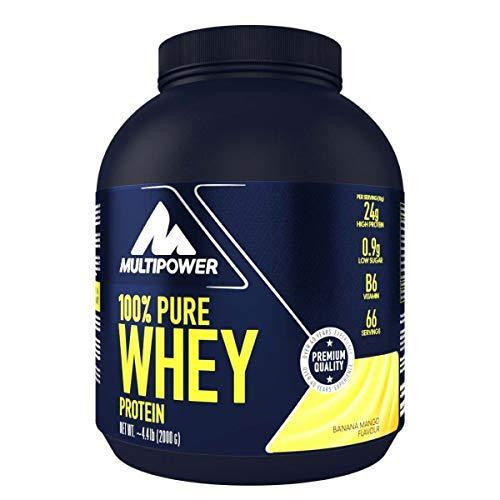 Multipower 100% Pure Whey Protein - wasserlösliches Proteinpulver mit Banane Mango Geschmack -  Eiweißpulver mit Whey Isolate als Hauptquelle - Vitamin B6 und hohem BCAA-Anteil - 2 kg