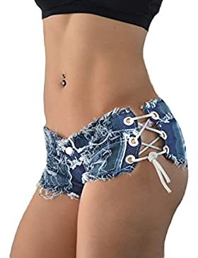 DELEY Donne Ragazze Nappa Benda Party Night Club Sexy Sfilacciato Corda String Jeans Pantaloncini Hot Pants
