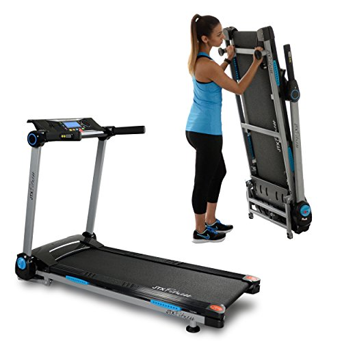 416brNdaHaL. SS500  - JTX Slim Line Flat Foldable Running Machine - Folding Treadmill - Compact, Electric, Motorised Exercise Machine with Digital Incline for the Home Gym - Fat Burning & Weight Loss Programs - Speakers
