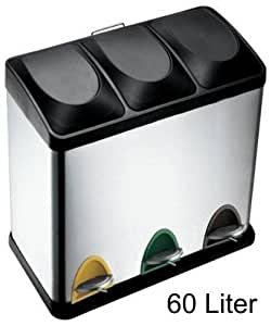 60 liter edelstahl tretabfalleimer 3 x 20 liter m lltrennung k che haushalt. Black Bedroom Furniture Sets. Home Design Ideas