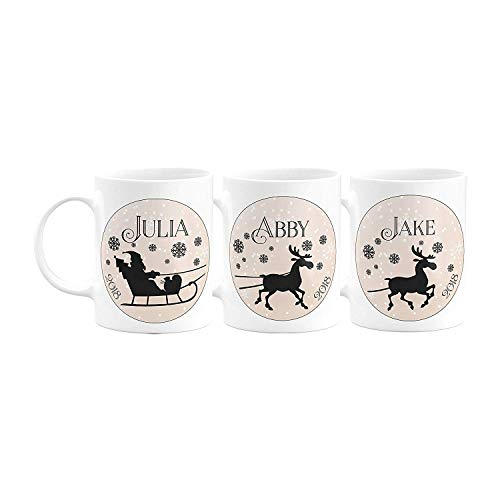 Christmas Gifts Personalized Coffee Mug - Santa's Sleigh and Reindeers & Penguins with Your Family Name - 11oz - Christmas Gifts, Birthday Gifts, Housewarming Gifts - Design 1 - Set of 3 -