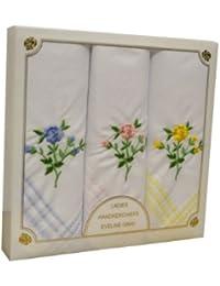 3 pack de Womens/Mesdames Rose Floral brodé mouchoirs avec bordures colorées, dans une boîte cadeau
