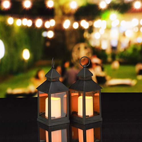 Relaxdays LED Laternen 2er Set, Kerze mit Flammeneffekt, Outdoor geeignet, Deko-Laterne, H: 23 cm, schwarz -