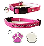 Cat Cerise Pink Deluxe Jewel Quick Release Collar With Engraved Paw Print Shaped Glitter Cat
