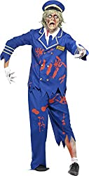 Smiffy's Men's Zombie Pilot Captain Costume with Jacket Shirt Trousers and Hat, Blue, Large