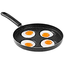 Uarter Oeuf Poêle à Frire, Aluminium, Alliage 4cavités œufs au Plat cuisinière Poêles, Noir