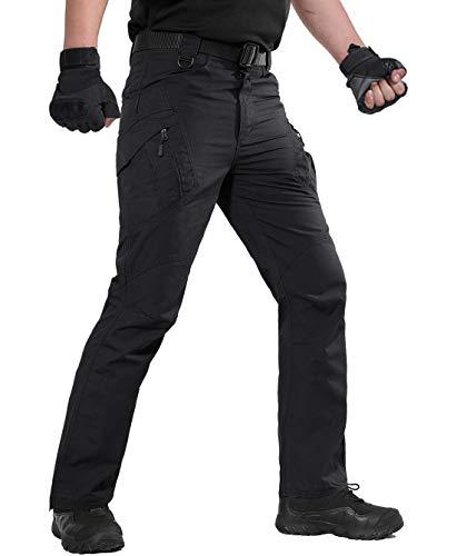 Combat Uniform Hose (KEFITEVD Herren Militär Kommando Hose Tactical Uniform Feldhose Paintball Airsoft Military Combat Hose Robust Stretch Taille Outdoor Wanderhose Jagd Camping Schwarz 52/L (Etikett: 2XL))