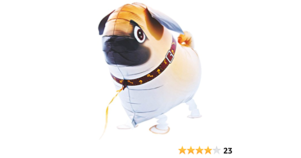 Lustiger Folienballon Laufender Hund #3 mit und ohne Heliumfüllung Halsband Mops