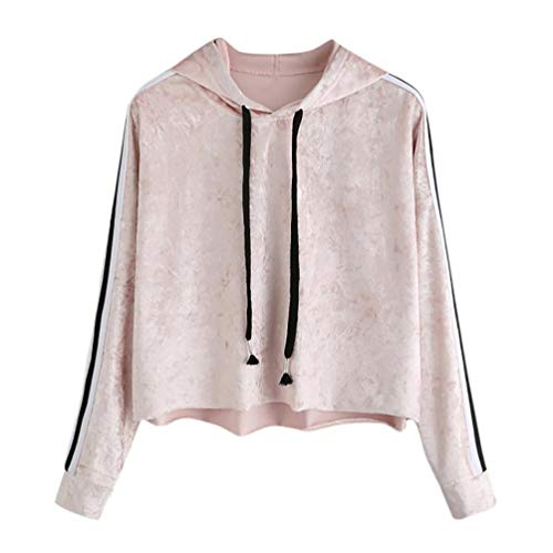 Sweatshirt Damen Julywe Damen Mikrofaser Long Sleeve Hoodie Sweatshirt Jumper Kapuzen Pullover Samt Tops Bluse