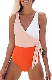 CUPSHE Women's Modest Swimwear Orange White Bowknot Bathing Suit Padded One Piece Swim