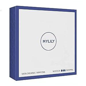 MYLILY Tampons   100% zertifizierte Bio-Baumwolle   0% Chemikalien   zuverlässiger Schutz   leichtes Einführen   Box mit 16 Tampons   weiß