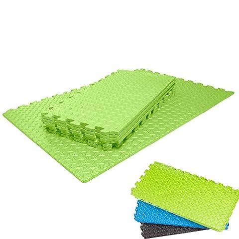 Matelas de protection de sol »MiniPuzzle« de #DoYourFitness / Idéal pour l'aérobic le pilates la gymnastique la musculation salle de fitness / Matelas d'entrainement de sport de fitness et de yoga haute qualité de marque résistant solide protège le sol des pressions, des éraflures et de la sueur / Convient à la préparation à l'accouchement Dimension en 18 éléments emboitables de 30 x 30 x 1,2 cm (env. 1,62 m²) / TESTÉ CONTROLÉ RECONNU EXCELLENTE QUALITÉ / Couleur : Vert