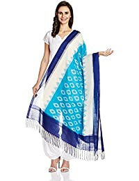 SS Fashions Women's Cotton Dupatta (Light Blue & White)