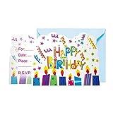 Happy Birthday Einweg Geschirr Teller Fahnen Cup Horn Jungen Mädchen Geburtstag Thema Party Dekoration Baby Shower Supplies, 6 Stücke Einladungskarte
