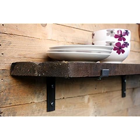 Un paio di stile industriale pieghevole Reggimensola in acciaio, gamba corta design per scaffali, Acciaio, Shelf width up to 200mm (40mm x 6mm)